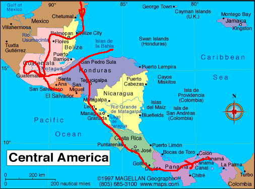 Map of my trip in Central America
